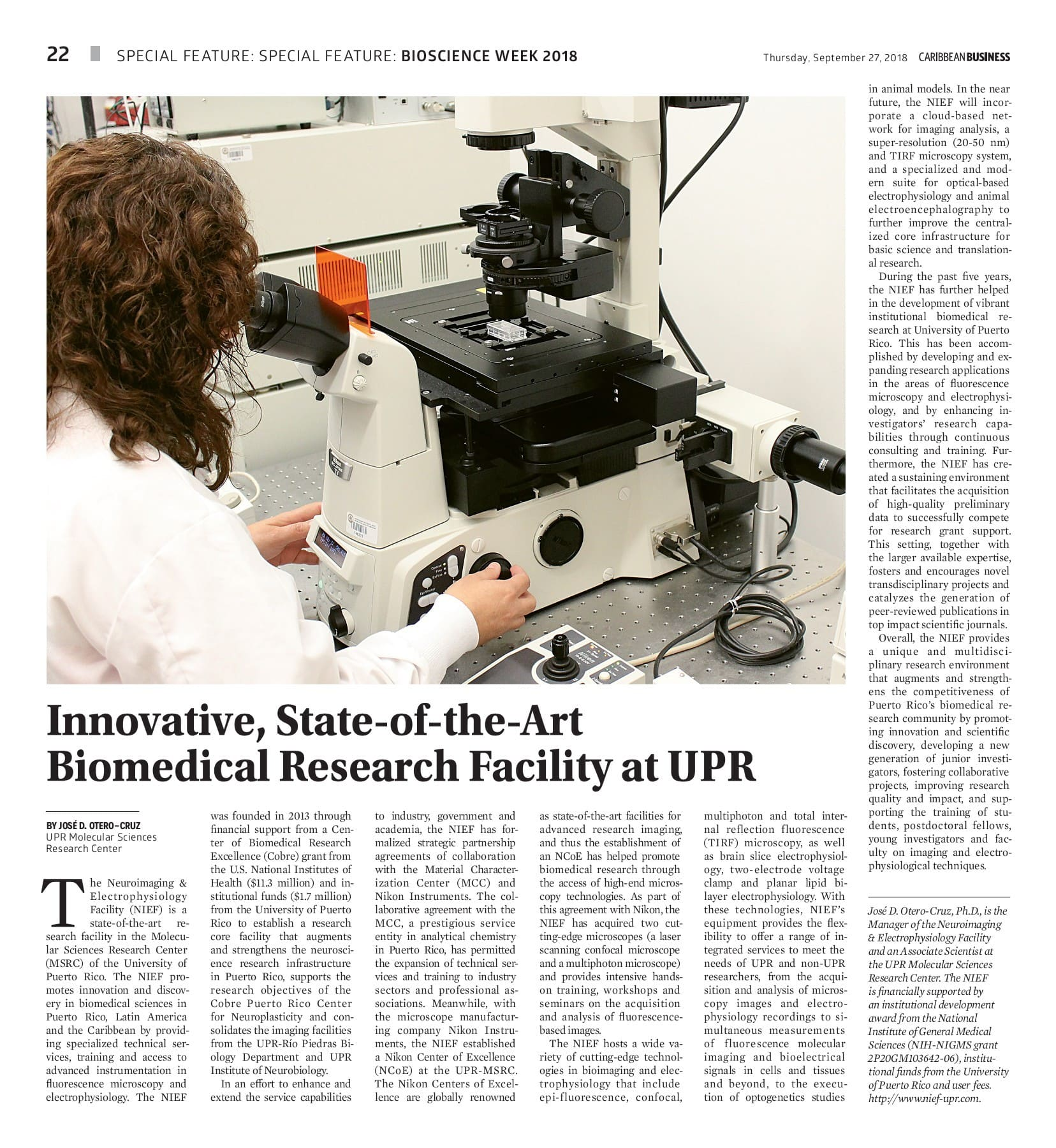 Innovative State-of-the-Art Biomedical Research Facility at UPR